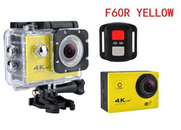 Wholesale Sports Action Camcorders - 1Pc Original F60R with 2.4G remote 4K Action Camera 170D Len 1080P 60FPS WIFI Sport Camera 30M Waterproo Bike Helmet Cam diving Camcorder