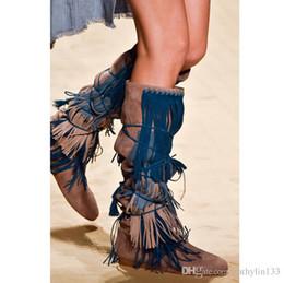 Botas de elevador on-line-2017 europa e americano novo desfile de moda botas de borla escondido elevador sapatos mulheres sapatos de festa botas joelho botas de cavaleiro frete grátis