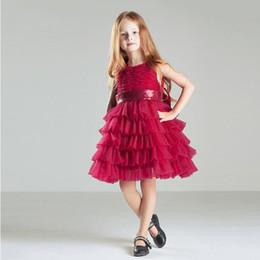 Vestido branco cinto rosa on-line-Livre Feito Sob Encomenda Branco Rosa Vermelho vestido de Baile Vestido Da Menina Novo Estilo Com Lantejoulas Cinto Boa Qualidade Desgaste Da Criança