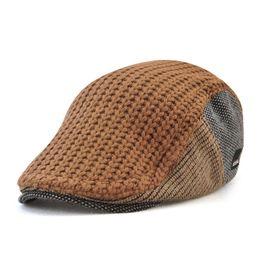 e328fab32a6bb Chapeau tricoté laine chaud béret chapeau plat style britannique hommes  automne et en hiver chapeau Gatsby Cabbie Newsboy Ivy casquettes
