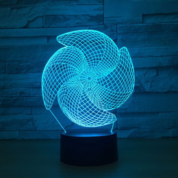 Wholesale Windmill Lamp - Windmill 3D Optical Illusion Lamp Night Light DC 5V USB Powered AA Battery Wholesale Dropshipping Free Shippin