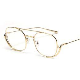 c414ae2a693 Male men glasses frame optical 2019 rose gold metal vintage eyeglass frames  for women square clear lens