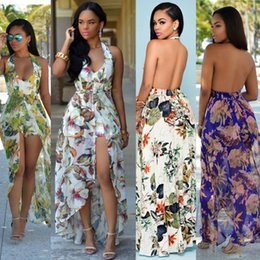 Wholesale Plus Size White Rompers - 2018 Summer New Bohemian Rompers For Women Halter Neck Plus Size Printed Hanging neck beach skirt Chiffon Sexy Backless Split Dresses