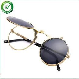 2019 flip acima dos óculos de sol redondos vintage Designer de marca de luxo óculos de sol do vintage rodada flip up óculos de sol para homens mulheres crianças júniors john lennon estilo círculo óculos de sol steampunk desconto flip acima dos óculos de sol redondos vintage