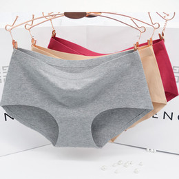 Wholesale Simple Underwear Briefs - Briefs Cotton Female Solid underwear XL Simple Soft Lingerie Mid-Rise Wine Red Ladies Heality Seamless Panties Cotton Women