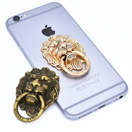 Wholesale Phone Holder Head - Lion head Metal Ring Phone Holder with Stand Unique Cell Phone Holder Fashion for iPhone 7 Plus Universal All Cellphone holder