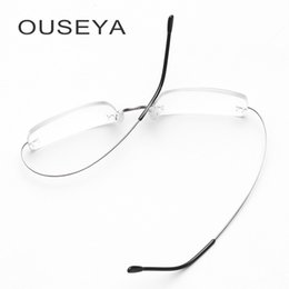 9e86dcd79bd men titanium frames Canada - Titanium Glasses Frame Men Rimless Fashion Business  Titanium Eyeglasses Frame