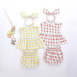 Wholesale Yellow Headband - INS new baby summer t shirt 3 piece sets sleeveless O-neck flowers print t shirt + short +headband girl summer clothing sets 0-2T