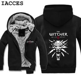 Wholesale Winter Hunting Coats - IACCES Brand Mens Game The Witcher 3: Wild Hunt Game Hoodies Super Warm Fleece Winter Zipper Coats Sweatshirts Plus Size Gifts