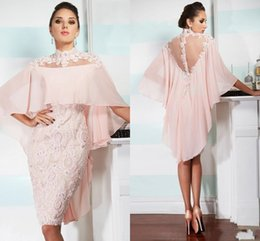 mother bride dresses knee length wrap UK - Short 2018 Pink Mother Of Bride Groom Dresses High Neck Sheer Back Knee Length Lace Appliqued Beaded with Wrap Cape Prom Party Gowns