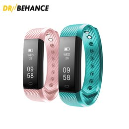 Wholesale Iphone Fitness - 2018 ID115 Smart Bracelet Fitness Tracker Step Counter Activity Monitor Band Alarm Clock Vibration Wristband for iphone Android phone