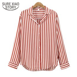 Wholesale Europe Woman S Ladies Blouses - 2017 New Europe lady fashion women tops long sleeve blouses women striped button shirts casual clothing blusas D66 30