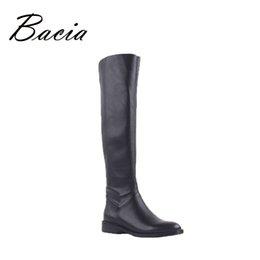 Canada Bacia Cuir + PU Solide Noir Overknee Bottes de hauteur 50 cm Femmes Automne Mode Dames bas talon Botte longueur de l'arbre 50 cm VD002 supplier leather overknee Offre