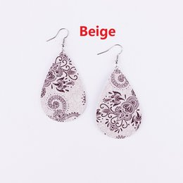 Wholesale Pink Chandelier Jewelry - Fashion New Print Paisley Floral Patterns Teardrop Pu Leather Earrings for Women 2018 Summer Jewelry New Unique Drop Leather Earrings