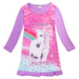 457e8d9aa144d Baby Girls Unicorn Dress Long Sleeve Children Princess Dress Animal Pattern  for Kids Sleeping Nightdress pajamas sleepwear Dresses