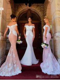Argentina 2018 recién llegado de encaje elegante sirena vestidos de dama de honor fuera del hombro apliques largo piso vestidos de invitados de boda vestidos de dama de honor Suministro