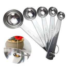 Wholesale Steel Measuring Spoons Set - 5pcs set Measuring Spoon Stainless Steel Kitchen Measuring Tools Cooking Tools Adjustable Scale Spoons for Measuring Dry Liquid JE0453