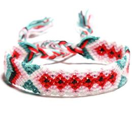 6 estilos pulseira amizade nepalês vento nacional mão-tecido colorido pulseira pulseira de tecelagem de sorte para a moda senhoras jóias H683F A de