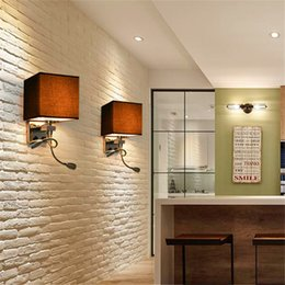 Wholesale Wall Mount Reading Lights - Modern LED Wall Lamp Fabric Lampshade Bedroom Bedside Sconce Flexible Reading Light Fixture Aisle Wall Mount Lighting cubic cloth shade E27