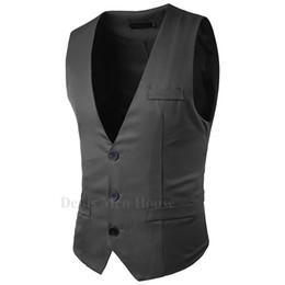 Wholesale Tuxedo Suits Colors - 2018 New Fashion Single Breasted Slim Waistcoat Suit Vest The back strap 4 Colors Male tuxedos Vests