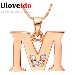 Wholesale Letter O Necklace - Uloveido Letter A B C D E F G H I J K L M N O P Q I S T U V W X Y Z Crystal Jewelry Pendant Necklace Rose Gold Color Gift N958