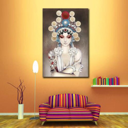 Wholesale Modern Face Oil Painting Canvas - Chinese Figure Peking Opera Face Wall Art Pictures Modern Oil Painting Home Decor for Living Room Bedroom No Frame
