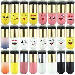 cepillo de base kabuki plano Rebajas Lindo Belleza BB Crema Kabuki Pincel de Maquillaje Solo Polvo Base Fundación Cepillo Mezcla Facial Cara Cosmética Herramienta de cepillo de Maquillaje Redondo