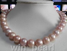 Grande collana di perle rosa online-enorme 12-13mm naturale australiano south seas pink pearl necklace 14K GOLD
