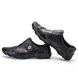 Wholesale black leather jacket size 12 - Men's Shoes Handmade Leather Jacket Autumn Shoes Men Genuine Leather Shoes Size US6-12 AK8891