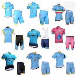 Wholesale astana cycling team - ASTANA team Cycling Short Sleeves jersey shorts sets Summer Style For Men Cycling Tops shorts sets Quick-Dry sportswear 841002