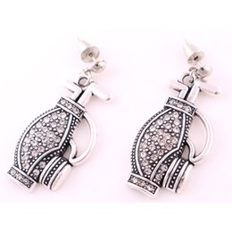 Wholesale golf plates - 18mm * 33mm 5pair High Quality Vintage Antique Silver Plated Zinc Crystal Golf Bag Pendant Earrings Jewelry