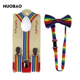 suspensórios arco íris Desconto HUOBAO 2017 arco-íris listrado laço e suspensórios conjuntos para crianças meninos crianças
