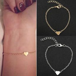 liebe silber armband für mädchen Rabatt Heißer Verkauf Charming Love Herz BraceletsBangles Für Frauen Mädchen Gold Silber Farbe Metall Armbänder Erklärung Schmuck Großhandel
