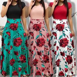2019 vestido longo maxi da flor Mulheres Moda Floral Maxi Vestido de Manga Curta Longo Vestido Flores Impresso Casual Boho Camisa Beach Dress Evening Cocktail desconto vestido longo maxi da flor