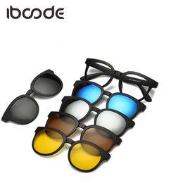 9b2fd5d20 Iboode TR90 Ímã Óculos de Sol Lente Clara com 5 Lentes Polarizadas Unisex Homens  Mulheres Clip On Myopic Óculos de Sol Magnético