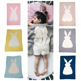 Wholesale ear beds - 6 Colors 105*75cm Baby Blankets INS Rabbit Ear Swaddling Knitted Animal Bedding Toddler Fashion Swaddle Newborn Bunny Blanket CCA8602 10pcs