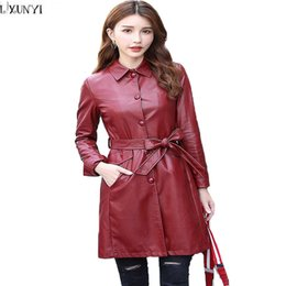 Wholesale Ladies Leather Trench Coat - LXUNYI Leather Coat Women Long Autumn Winter Korean Casual Plus Size Womens Trench Coats Belted Slim Ladies Leather Jacket 4XL