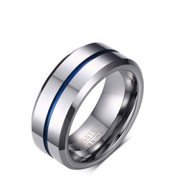 Wholesale Tungsten Wedding Bands For Men - 2018 Fashion Thin Blue Line Tungsten Ring Wedding Brand 8MM Tungsten Carbide Rings for Men Jewelry