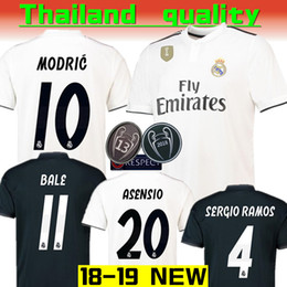 Wholesale thailand quality soccer jerseys xxl - Thailand quality 2018 2019 new real Madrid modric MODRIC KROOS soccer jerseys ASENSIO ISCO RAMOS BELL champions league football jersey