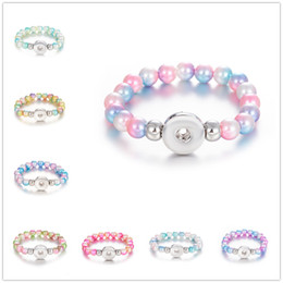 095adfe3b7d7 pulseras de perlas Rebajas 8 Colores Pulsera con Botón a Presión 10mm  Perlas de Imitación Perlas