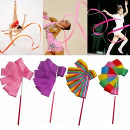Cinta de gimnasia palos online-1 unids 2 M / 4 M Colorido Gimnasio Cinta Cinta Cinta Rítmica Arte Gimnasia Ballet Streamer Twirling Rod Stick para entrenamiento de gimnasio