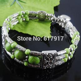 antikes tibetisches türkis Rabatt Freies verschiffen Tibetischen Antiken Metall Grün Howlith Türkis Edelstein Runde Perlen Charme Armband Armband 6,5