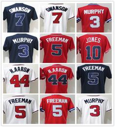 Wholesale Brave Blue - Braves 7 Dansby Swanson 3 Dale Murphy 5 Freddie Freeman 10 Chipper Jones 44 Hank Aaron Baseball Jersey Stitched Retro Atlanta