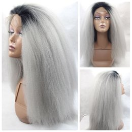 Wholesale Dark Grey Wigs - ombre wig Yaki Kinky Straight Lace Front Wigs Two Tones Synthetic Glueless Front Lace Wig Silver Grey Ombre Dark Root Yaki Straight Hair