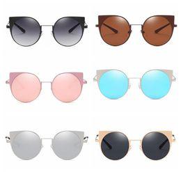 Wholesale cat eyes film - Stainless steel cat eye sunglasses New Fashion outdoor sports metal round colored film retro ladies sunglasses Outdoor Eyewear 10pcs LJJG35