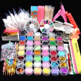 2019 kits de gemas 48 Glitter Powder Manicure Nail Kit Rhinestones Diseño 3d Acrylic Powder Gel Polish Nail Tips Gemas Decoración Diy Nail Kit de herramientas kits de gemas baratos
