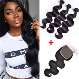 chinese natural human hair Coupons - Brazilian Body Wave Human Hair Weaves 3 Bundles With 4x4 Lace Closure Bleach Knots Straight Loose Deep Wave Curly Hair Wefts With Closure