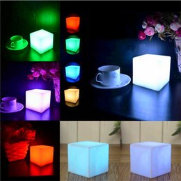 Wholesale Christmas Lights Change Colors - Mising 7 Colors Romantic Changing Mood Cubes LED Night Light Lamp Glow Gadget Gizmo Light Home Colorful Decoration Nightlight