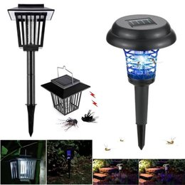Wholesale portable mosquito - Solar Bug Zapper Mosquito Killer Mosquito Zapper Electronic Insect Bug Worm Killer LED Solar Powered Outdoor Garden Lawn Camping Lamp 2 In 1
