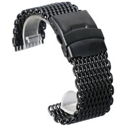 Malla de banda de reloj 22mm online-18 mm 20 mm 22 mm 24 mm reloj de pulsera de malla de acero inoxidable negro Band hombres de moda relojes de cuarzo correa de alta Quarlity